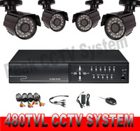 Wholesale 4CH CCTV System DVR Kit with tvl Waterproof Security Cameras P2P Easy Remote View