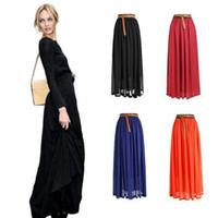 Wholesale S5Q New Women Chiffon pleated Retro Long Elastic Waist Band Maxi Dress Skirt AAAAWP