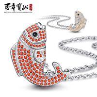 Pendant Necklaces Bohemian Women's Baozen new s925 sterling silver jewelry personalized silver necklace to send his girlfriend Korean Fashion carp Silver Pendant