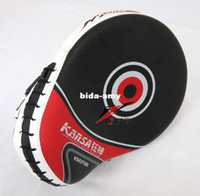 Wholesale Curved Desgin Boxing Martial Arts MMA Focus Mitts Punch Pad PAIRS hook loop wrist strap