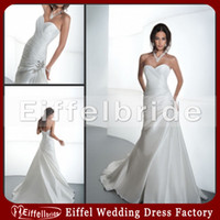Wholesale 2014 White Gothic Wedding Dresses with A Sexy Pick ups Sweetheart Neckline and Elegant Beaded Hips Lace ups Satin Sheath Bridal Gowns