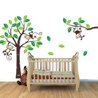 Wholesale S5Q Custom Personalised Name Monkey Tree Wall Art Stickers Kids Nursery Vinyl Decals AAACDP