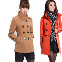Wholesale women s stand collar double breasted slim plus size outerwear fashion wool coat hot sale Christmas gifts