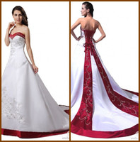 Wholesale Classical New Arrival A Line Red Purple White Bridal Gown Satin Strapless Chapel Train Gowns Embroidery Beading Suquins Wedding Dresses YW19