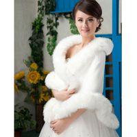 Faux Fur average wedding dress size - Average Size Faux Fur Wedding dress Bridal Wrap Jacket Shawl Cape Stole Bolero Coat Plus Size White Fur High Quality