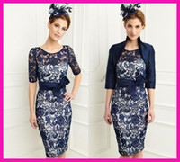 Wholesale 2014 Royal Blue Short Lace Mother of the Bride Dresses Outfits Pant Suits With Jacket M1782