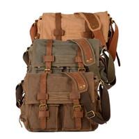 Wholesale S5Q Men s Vintage Canvas PU Leather School Military Shoulder Bag Messenger Bag AAACFK