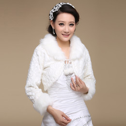 Winter Style Discount Average Size Wedding dress Bridal Wrap Jacket Shawl Cape Stole Bolero Coat Long Sleeve White Fur Fuax Beads Wholesale