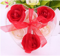 Wholesale Washing Cleaning Bath Rose Flower Paper Petals Soap Gift Organtic Wedding Gift Favor Mulit Color Soap one box L453