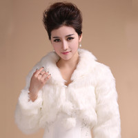 Faux Fur average wedding size - Winter Style Average Size Wedding dress Bridal Wrap Jacket Shawl Cape Stole Bolero Coat White Long Sleeve Fur Fuax
