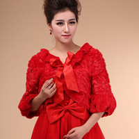 Jacket Faux Fur Short Sleeves Charming Sexy Winter Style Average Size Wedding dress Bridal Wrap Jacket Shawl Cape Stole Bolero Coat Red Half Sleeve Fur Fuax Wholesale