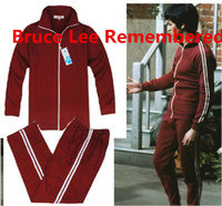 Wholesale Bruce Lee s Red Sportswear Classic Tracksuit In Blind Pupil Classic Clothing Jeet Kune Do Training Kung Fu Training Clothing