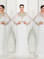 Wholesale Arabic Dubai ABAYA KAFTAN white Arrival Zuhair Murad Muslim Dress Poet Long Sleeve With Beaded Chiffon Evening Dresses formal gowns BO3486