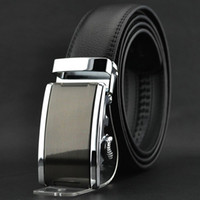 belts - S5Q Fashion Luxury Men s Automatic Buckle Split Leather Waist Strap Belts Black AAACEA
