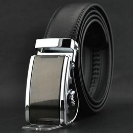 Wholesale S5Q Fashion Luxury Men s Automatic Buckle Split Leather Waist Strap Belts Black AAACEA