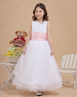 Reference Images Girl Ruffle Lovely White And Pink Girl Birthday Dress Jewel A Line Organza Long Layers Children Christmas Wedding Party Dress for Sale