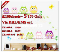 Wholesale New Design ZooYoo Original ZY1009 Four Loving Owls amp Owls Family Tree for Boys amp Girls Wall Decal Manufacturer