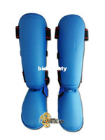 Wholesale Karate MMA Shin Guards Removable Instep Guards Blue Protective Pads Pair Size S M L available