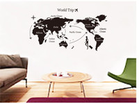 PVC animal sayings - Black New Design Wall Sticker Map of the World for Learning Study Art words sayings Vinyl Wall Decals home decorations wallpaper