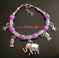 Cheap 10 PCS Lovely JEWELRY TIBET SILVER Purple Jade ROUND BEADS ELEPHANT PENDANT BRACELET