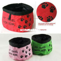 Wholesale Freeshipping Color Foldable Nylon Waterproof Non Leakage Travel Food Water Feeder Bowl for Pet Dog Cat Size x4 XBK011