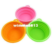 Wholesale Environmental Friendly Ros Silicone Pet Collapsible Travel Bowl Dog Folding Bowl Portable Orange Green Pink