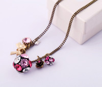 Pendant Necklaces other Women's Min order 10$.Pegasus European and American fashion jewelry gemstone ball bow sweater chain necklace female models
