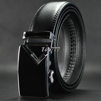 Belts auto lock belt - New men s genuine leather belt Auto lock steel buckle pk106