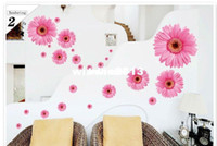 Wholesale Pink Flowers decorative mirror glass wall stickers Creative Design wall art decal removable poster paper