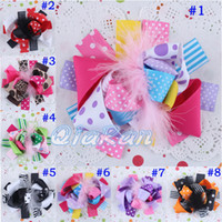 Barrettes Feather, Ribbon Flower Small Funky Hair Bows Baby Feather Hair Clips Cute Hairbows Infant Flower Clip Hairpin Hairgrips Prom Boutique 10pcs HYS18