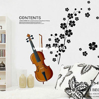 Wholesale Plum flower music violin sitting room sofa bedroom window glass TV vinyl wallpaper romantic wall art decorative sticker