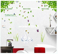 Wholesale Green leaves swan baby room sitting room TV sofa background removable wall stickers crystal jungle cheap wall art paper