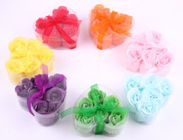 Wholesale one box Washing Cleaning Bath Body Heart Rose Flower Paper Petals Soap Gift Organtic Wedding Gift Favor Mulit Color Soap L454