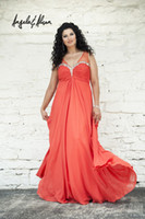 Cheap 2014 Sexy Plus Size Prom Dresses Beaded Empire sweetheart Neckline with Sheer Straps Gathered Floor Length Chiffon Prom Gown