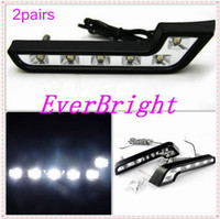 al por mayor súper drl-2 pares 6LED blanco Auto coche de conducción de la lámpara 12v Super brillante Universal Drl Daytime Running Light