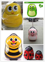 Wholesale 5 styles Big luggage and small backpack Cuties child school bag bee eggshell school bag picture trolley travel bags rolling kids luggage