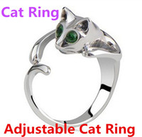 Wholesale Adjustable Cat Ring Animal Fashion Ring With Rhinestone Eyes djustable and Resizeable