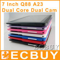 Wholesale 7 inch Q88 Quad Core tablet pc Allwinner A33 Android OS Ghz Capacitive Touch screen M RAM G ROM WIFI USB G Dual Camera Tablet PC