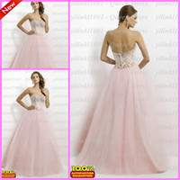 Wholesale 2014 Alluring Sexy Sweetheart Crystal Beads Sheer Tulle A line Prom Party Dresses Formal Evening Graduation Bridesmaid Gowns
