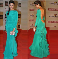 Wholesale Deepika Padukone Green Backless Evening Gowns Mermaid Pleated Satin Skirt Long Sleeve Evening Dress Celebrity Red Carpet Dress Indian Style