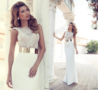 Elegant 2014 Cheap Sexy Sheer Vintage Wedding Dresses Sheath...