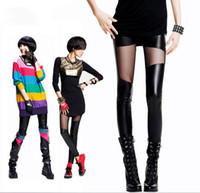 Wholesale Faux Leather Pants Gauze Personalized Patchwork Ankle Style Legging Female Trousers