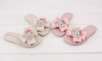 Wholesale Children Girls Famous Rhinestone Cartoon Soft Bottom Slipper Shoes Princess Chiffon Bow Sandals Foot Wear B2216