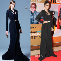 Reference Images V-Neck Chiffon Formal Ceremony Black V-neck Long Sleeves Red Carpet Celebrity Dress Sonam Kapoor Elie Saab Chiffon Long Sheath Beaded Sash Prom Dresses New