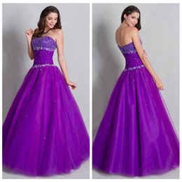 Wholesale Chic Strapless Quinceanera Dresses Ruffle Tulle Purple Sleeveless Ball Gown Long Special Occasion Dresses Quinceanera Dress With Bea