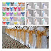 Wholesale Organza Chair Cover Sash Bow Wedding Anniversary Party Banquet Favour Reception Decoration