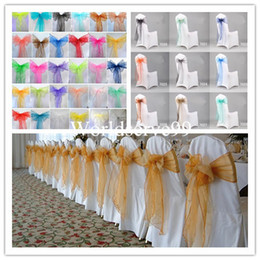 Wholesale 2015 Fashion Organza Chair Cover Sash Bow Wedding Anniversary Party Banquet Favour Reception Decoration Supplies Events