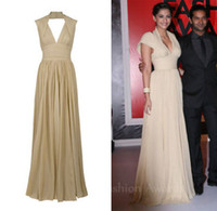 Reference Images V-Neck Chiffon Sexy V-nexk with Short Sleeves Red Carpet Celebrity Dress Sonam Kapoor Elie Saab Corset Long Chiffon Formal Evening Prom Dresses Gowns