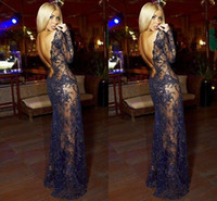 Reference Images Jewel/Bateau Lace Sexy See Through 2014 Black Lace Backless Long Sleeve Evening Dresses Sheer Beaded Celebrity Pageant Party Party Gowns Free Shipping Arabic