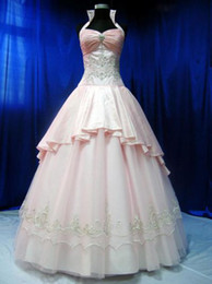 Wholesale Lace Applique High Collar Ball Gowns Ruched Taffeta Quinceaneara Dresses Bodice Sweep Train Long Prom Dress No Sleeve